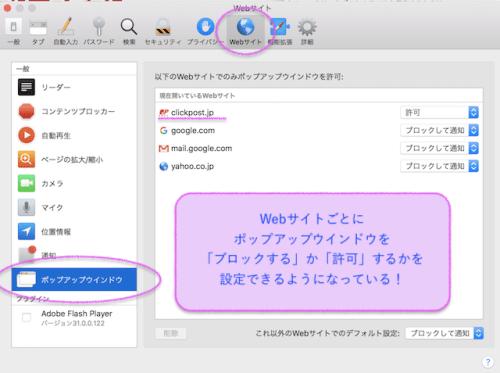 ポップアップの設定をウェブサイトごとに変更できる