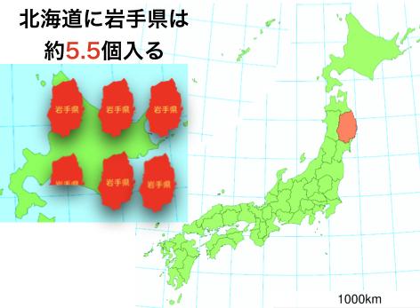 北海道に岩手県は5.5個はいる