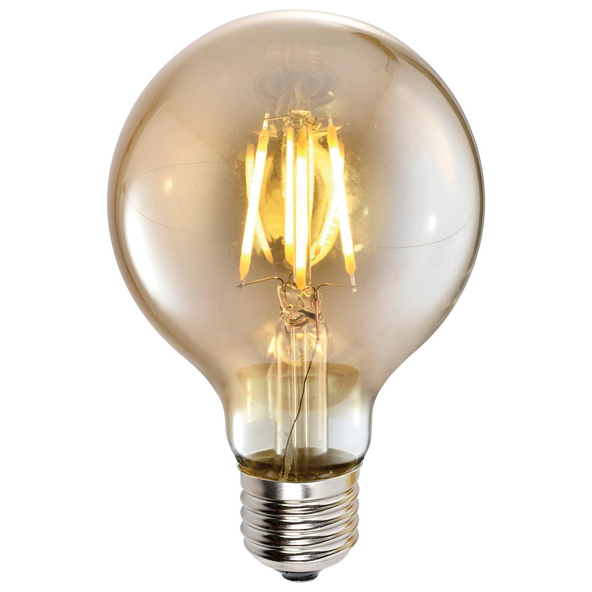 Lampa LED G95 4W AMBER E27 2700K 220V (TL) 50sh