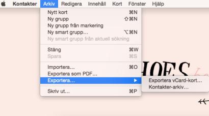 exportera kontakter vcard iphone mac
