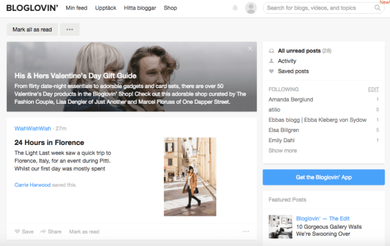 bloglovin feed bloggar