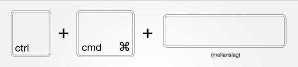 ctrl-cmd-space emojis på datorn kortkommando