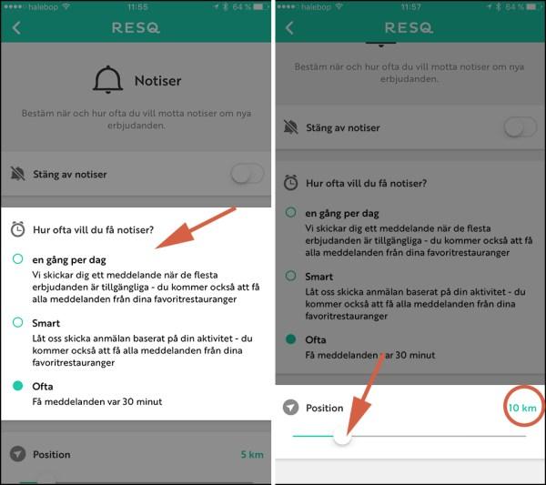ResQ Club App notiser stänga av