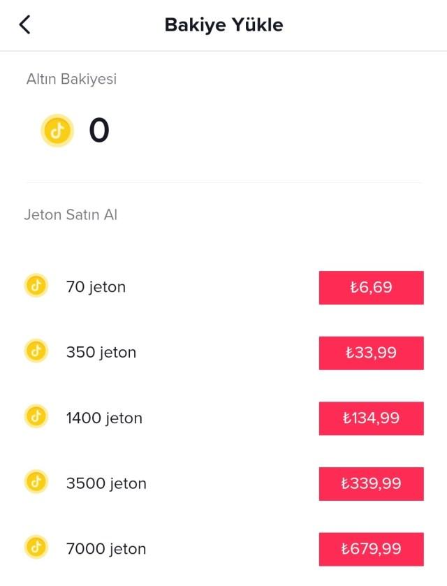 Tiktok Jeton Fiyatları