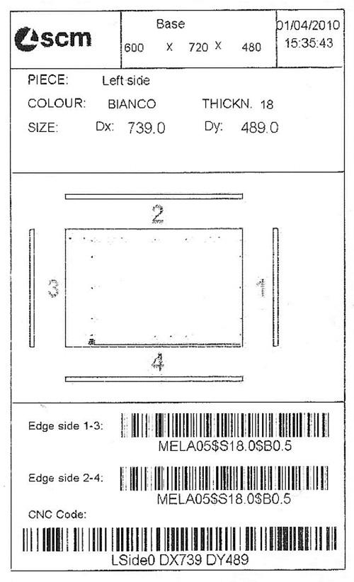 Этикетка Morbidelli M600/800F, производство SCM (Италия)