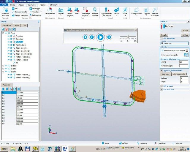 Моделирование обрезки кромки на Morbidelli P800, производство SCM (Италия)