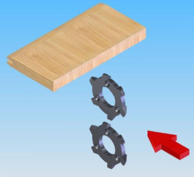 Снятие фаски по торцу на станке для обработки поперечин рамочных фасадов FSFS2, производство Fiorenza Италия