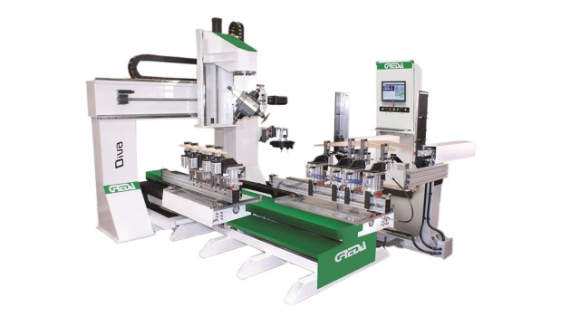 5-ти осевой обрабатывающий центр с ЧПУ с 2 столами для производства стульев SPRINTER R2+R1 CU, производство Greda (Италия)