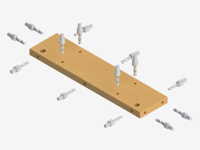 Присадка с 5 сторон при помощи фиксированных присадочных станций и 3-х осевой сверлильной головы с независимыми шпинделями (от 6 до 21 шт) для станка  Modular CN, производство Fiorenza (Италия)