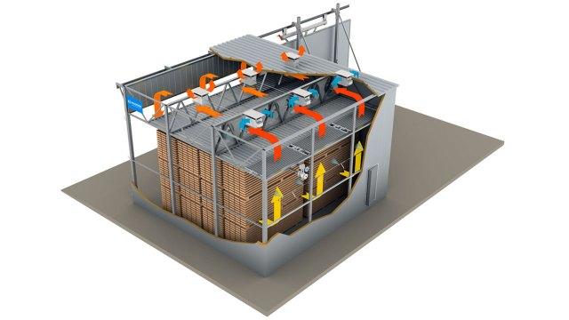 Конвективная сушильная камера с водяными радиаторами ICD, производство Incomac (Италия)