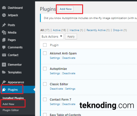 dashboard wordpress menu plugin install add new