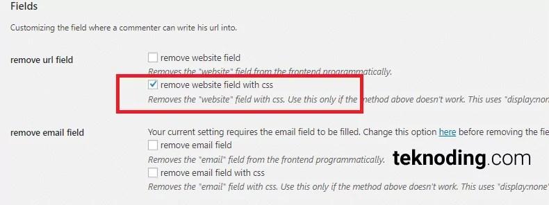 remove url website field with css wordpress komentar