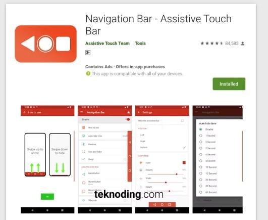 download aplikasi pengganti tombol navigasi home back kembali recent navigation bar di google play store android
