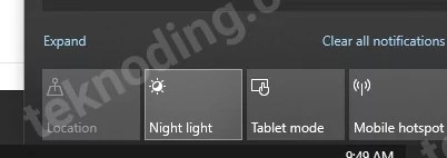cara mematikan night light windows 10