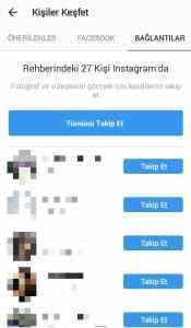 telefon rehberimdeki instagram