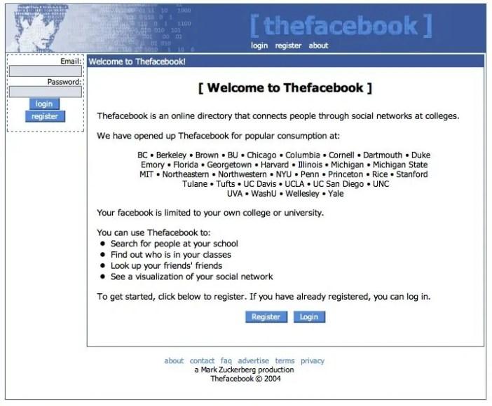 Muonekano wa Facebook Mwaka 2004