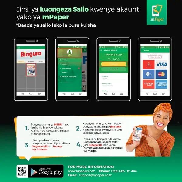 Tangazo na muonekano wa zamani wa app ya m-paper, kuanzia sasa huduma nyingine za malipo kwa njia ya simu zinaondolewa. Inabakia m-pesa