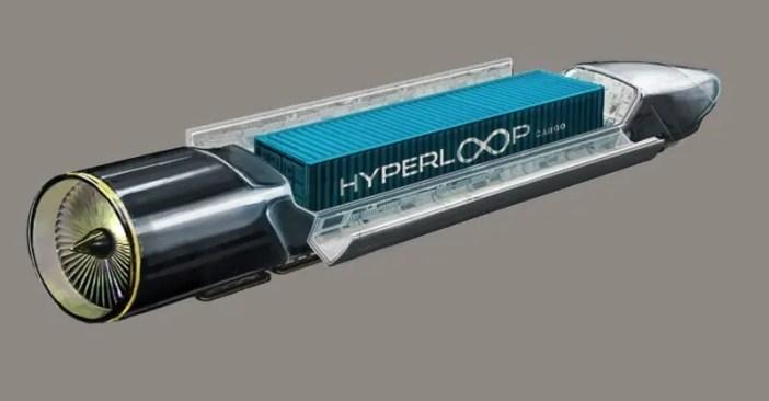 Mchoro ukionesha ubebaji wa kontena la mizigo ndani ya Hyperloop