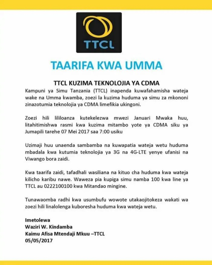 TTCL waachana rasmi na teknolojia ya CDMA
