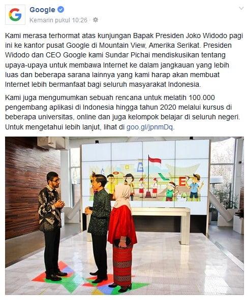 Google, Presiden Joko Widodo, Sundar Pichai