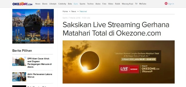 live streaming, okezone.com, GMT