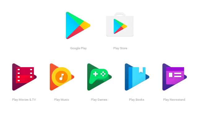 Arti Lambang di Google Play, Play Store, Play Movies & TV, Play Music, Play Games, Play Books, Play Newsstand
