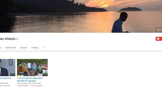 channel, youtube, joko widodo