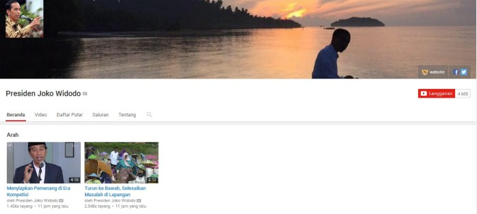 channel, youtube, joko widodo