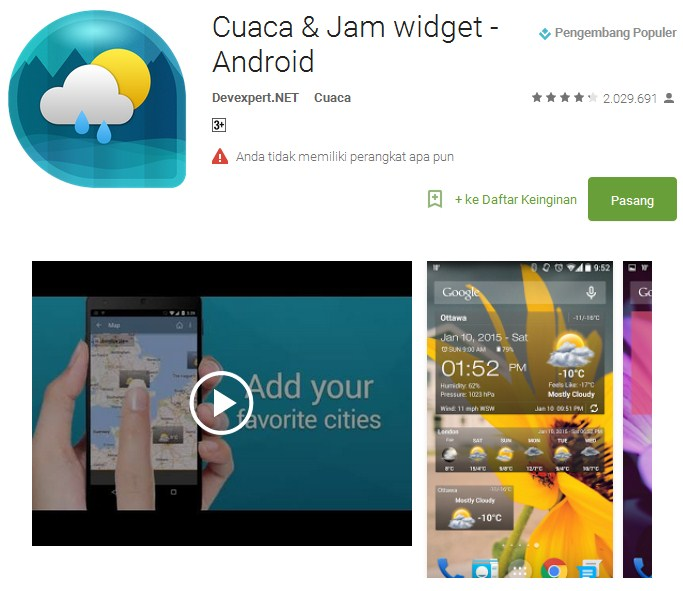 Cuaca & Jam Widget - Android