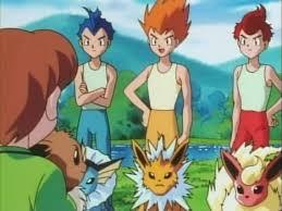 Ketiga nama tersebut merupakan nama trainer dari Eevee yang ada dalam seri kartun Pokemon.