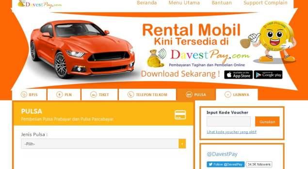 Tampilan DavestPay.com via Aplikasi Web