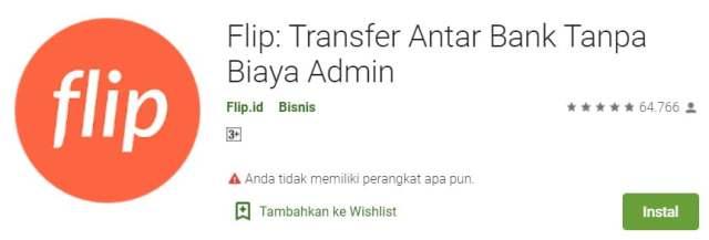 Flip Transfer Antar Bank Tanpa Biaya Admin