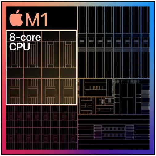 Apple M1 chip 8 CPU core 4 high performance core 4 efficiency core