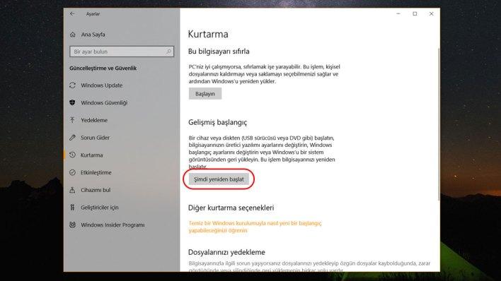 Windows 10 Güvenli Mod 3. Adım