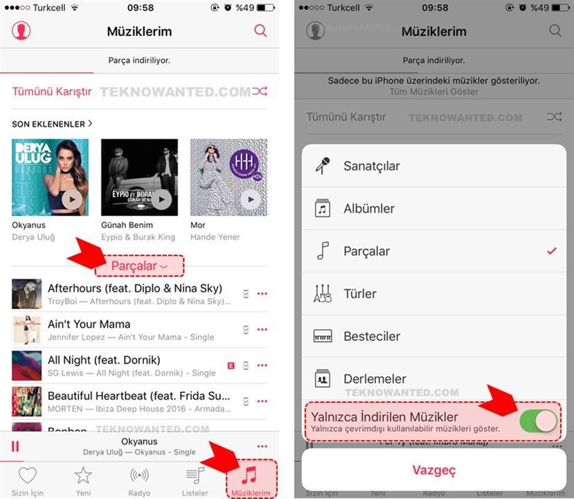 iTunes Apple iPhone Çevrimdışı müzik dinleme(6)
