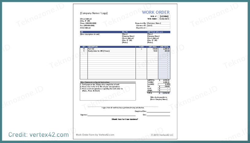 Our free templates are customizable, so you can tailor them to your own work order form needs. Download Kumpulan 21 Contoh Template Nota Excel Gratis