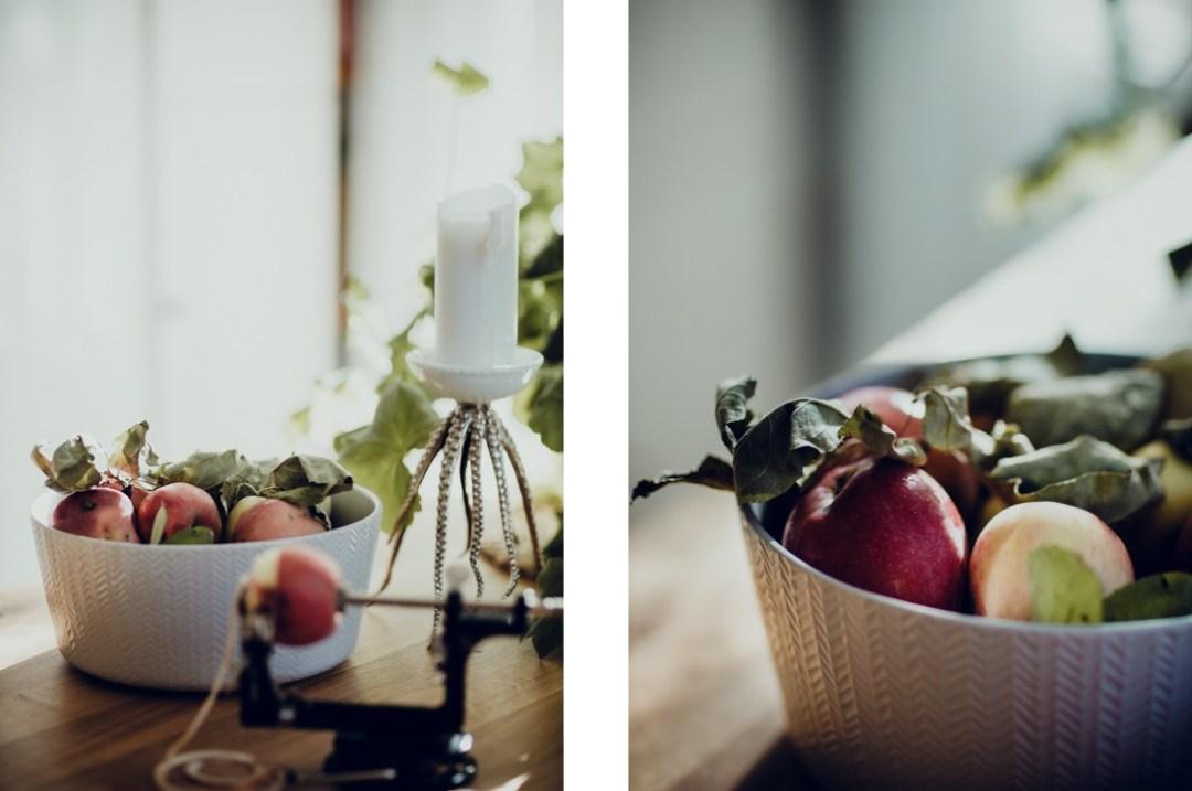 Torka äppelringar med äppelsvarv