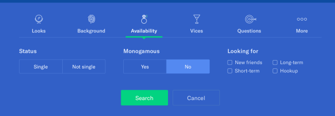 OKCupid profile search filter