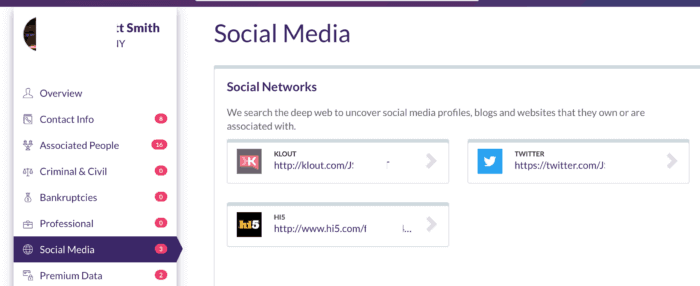 example of social media report of a person