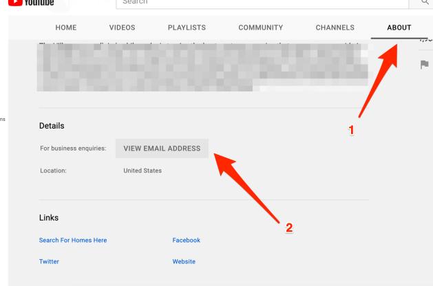 Finding secret email address on Youtube