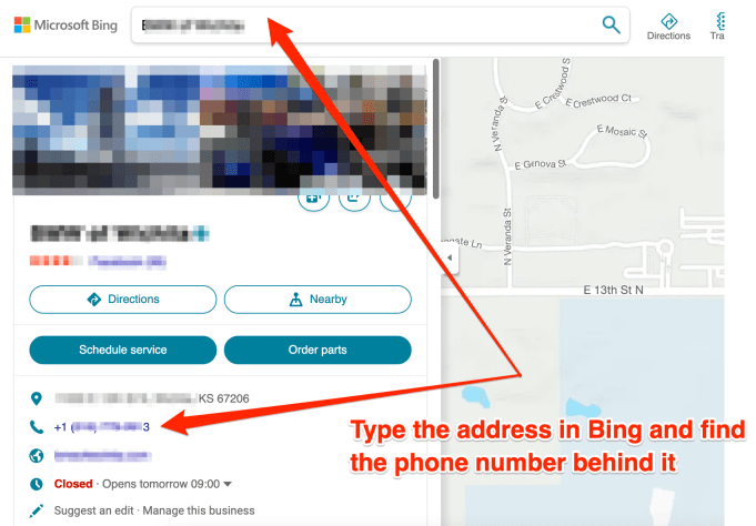 Finding someone's phone number with their home address on Bing