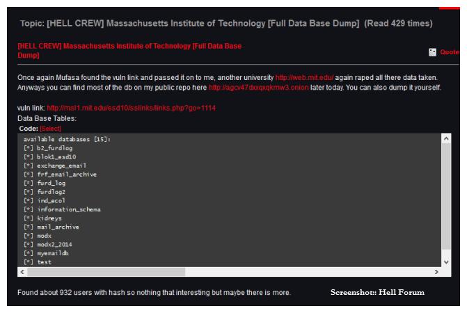 Deepweb Hell forum MIT hack