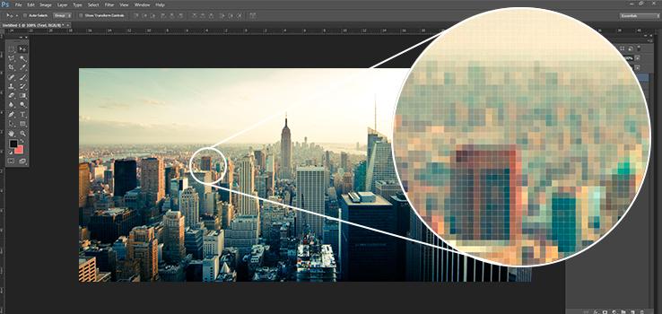 Contoh gambar bitmap, yang apabila di zoom akan terlihat kumpulan warna pixel