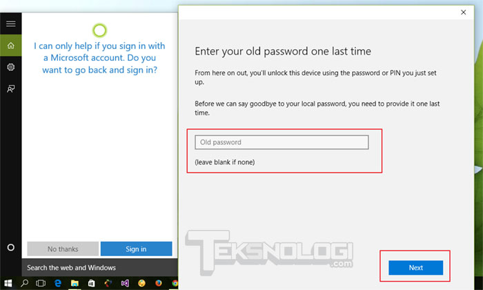 enter-old-password-windows10-cortana-setup