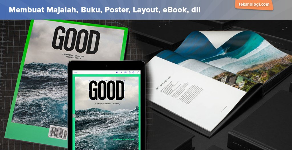 contoh desain poster majalah dan buku