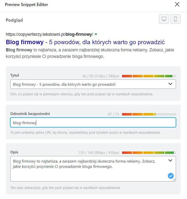 Jak pisać podSEO - screen pokazujący, jak ustawić metadane