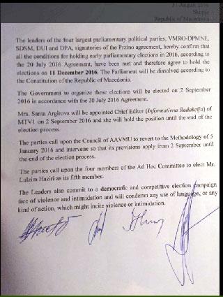 Erklæring den 31. august 2016 om valg i Makedonien