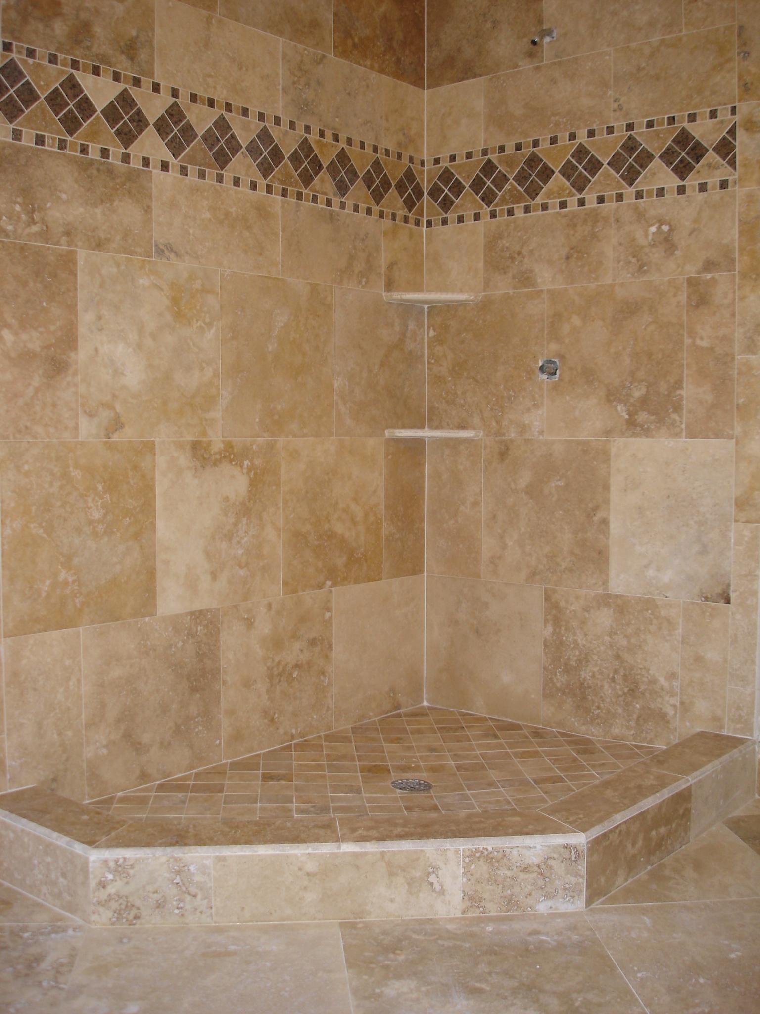 Stone Work - Travertine   Tek Tile - Custom Tile & Designs on Bathroom Tile Pattern Design  id=51202