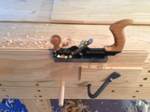 Cutting the groove with the tongue and groove plane.