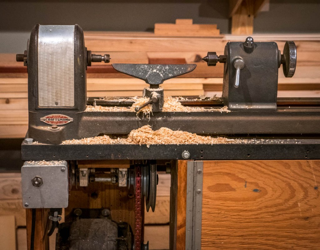 And, the first shavings from the lathe.